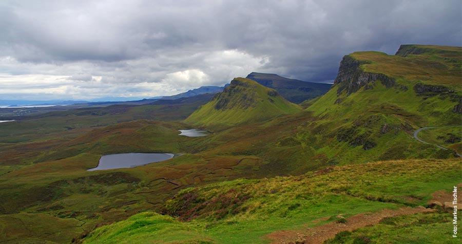 Die Quiraing-Region ist eines von zwei großen Bergmassiven auf der Isle of Skye.